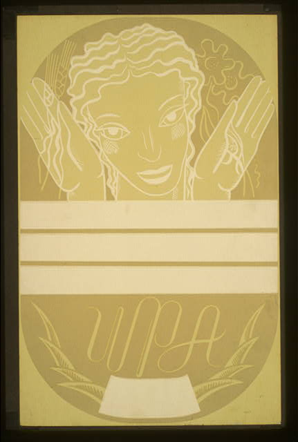 [WPA poster design showing the head and hands of a woman holding flowers and wheat above a blank banner]