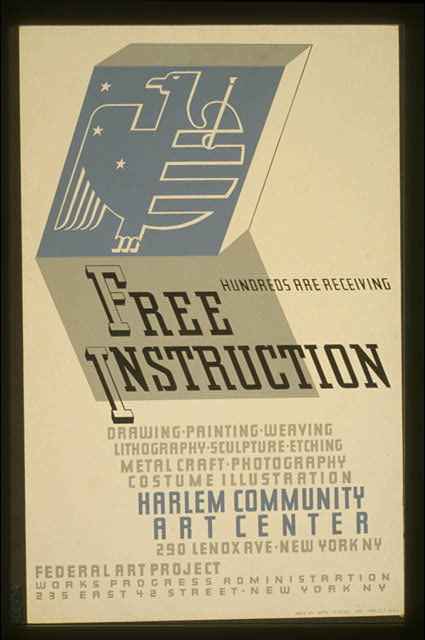 Hundreds are receiving free instruction Drawing, painting, weaving, lithography, sculpture, etching, metal craft, photography, costume illustration [at] Harlem Community Art Center.