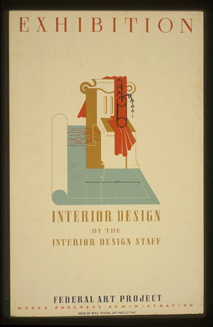 Exhibition Interior design by the interior design staff, Federal Art Project, Works Progress Administration.