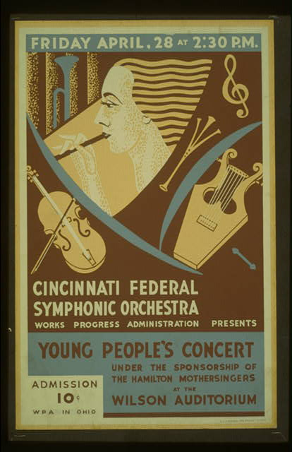Cincinnati Federal Symphonic Orchestra, Works Progress Administration presents young people's concert under the sponsorship of the Hamilton Mothersingers at the Wilson Auditorium
