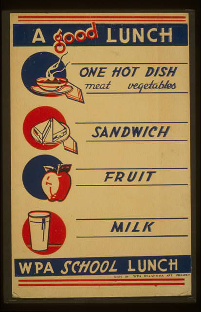A good lunch - one hot dish, meat, vegetables - sandwich - fruit - milk WPA school lunch.