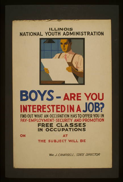 Boys - are you interested in a job? Find out what an occupation has to offer you in pay, employment, security, and promotion : Free classes in occupations.