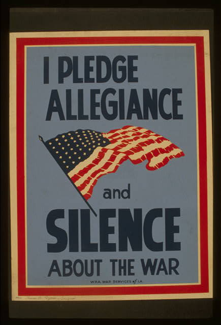 I pledge allegiance and silence about the war