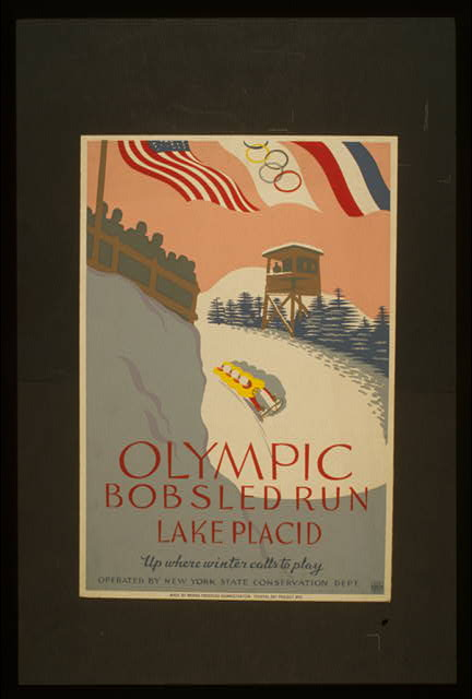 Olympic bobsled run, Lake Placid Up where winter calls to play.