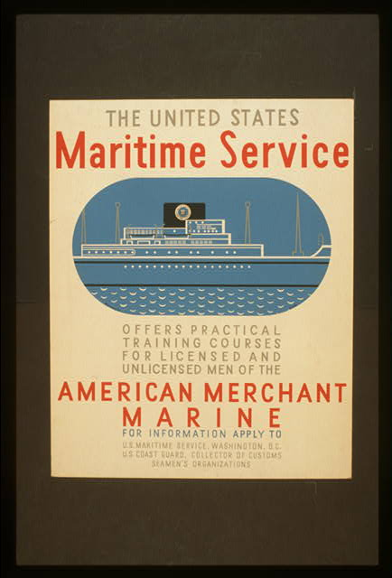 The United States Maritime Service offers practical training courses for licensed and unlicensed men of the American Merchant Marine