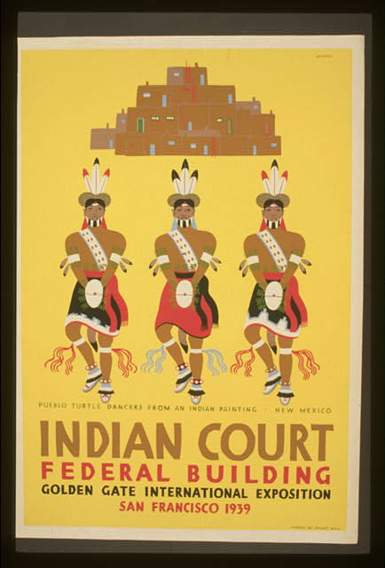 Indian court, Federal Building, Golden Gate International Exposition, San Francisco, 1939 Pueblo turtle dancers from an Indian painting, New Mexico /