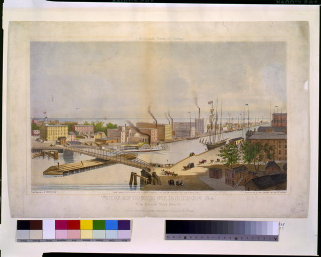 View of Rush St. bridge & c. from Nortons Block River St.  E. Whitefield's views of Chicago