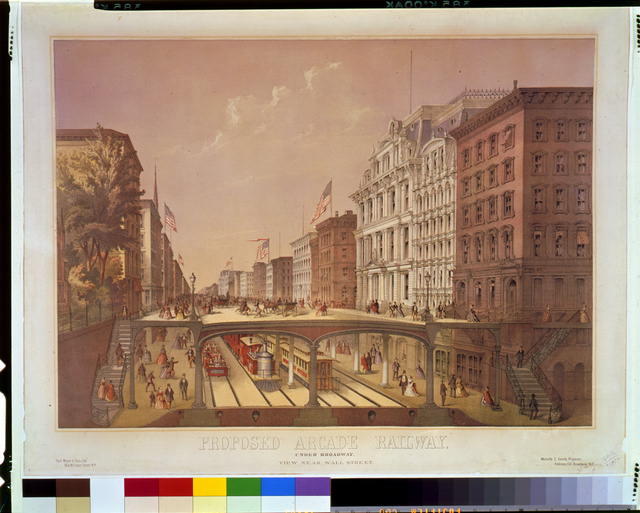 Proposed arcade railway--Under Broadway, view near Wall Street
