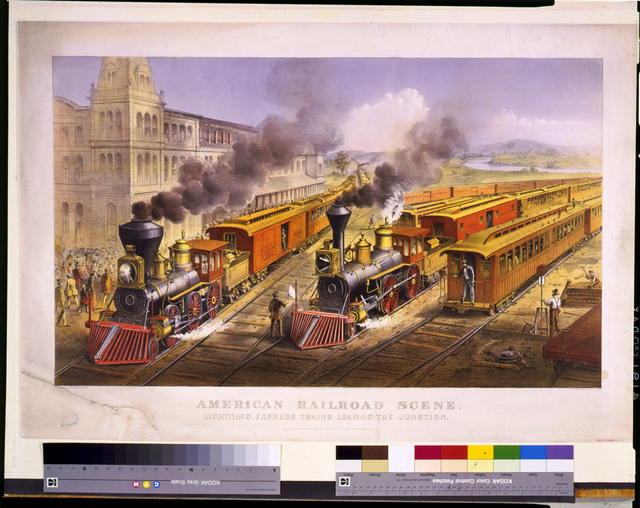 American railroad scene: lightning express trains leaving the junction