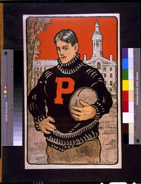 [Princeton student, with letter P on sweater, half-length, standing, facing left, holding football(?), with Princeton University behind him]