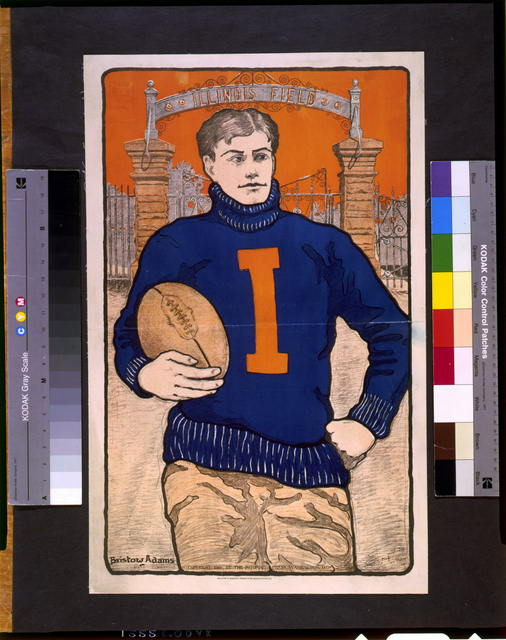 [Football player, with letter I on sweater, holding football, in front of Illinois Field]