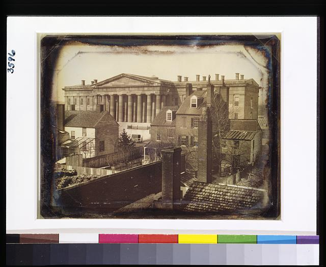 [United States Patent Office, Washington, D.C., showing F Street facade, possibly taken from the upper floor of the General Post Office]