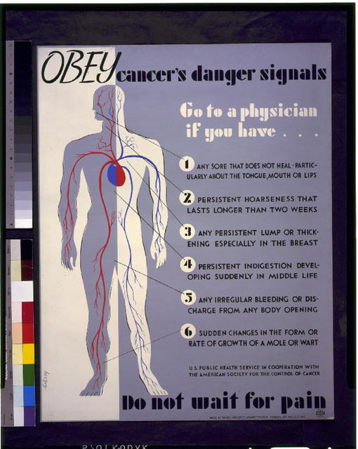 Obey cancer's danger signals Do not wait for pain : Go to a physician if you have [...] /