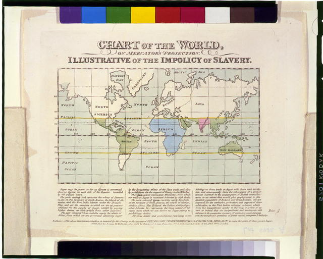 Chart of the world, on Mercator's projection. Illustrative of the impolicy of slavery