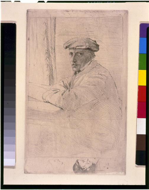 [Le graveur, Joseph Tourney, half-length portrait, seated, facing left]