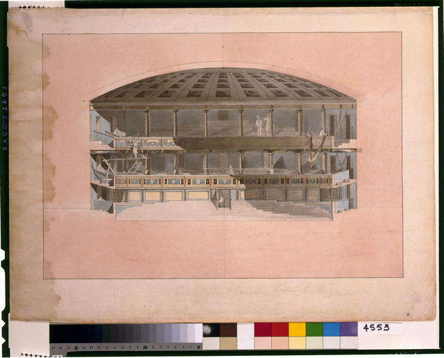 "[Theater and hotel building (""Theatre, Assembly Rooms and an hotel""), Richmond, Virginia. 5--section of theatre with figures]"