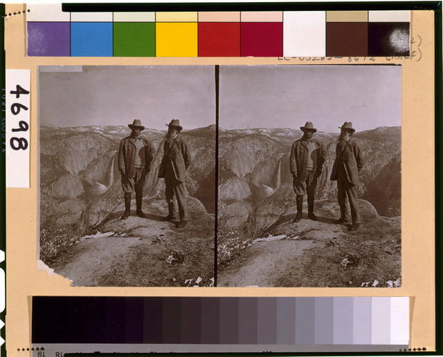 [Theodore Roosevelt and John Muir on Glacier Point, Yosemite Valley, California, in 1903]
