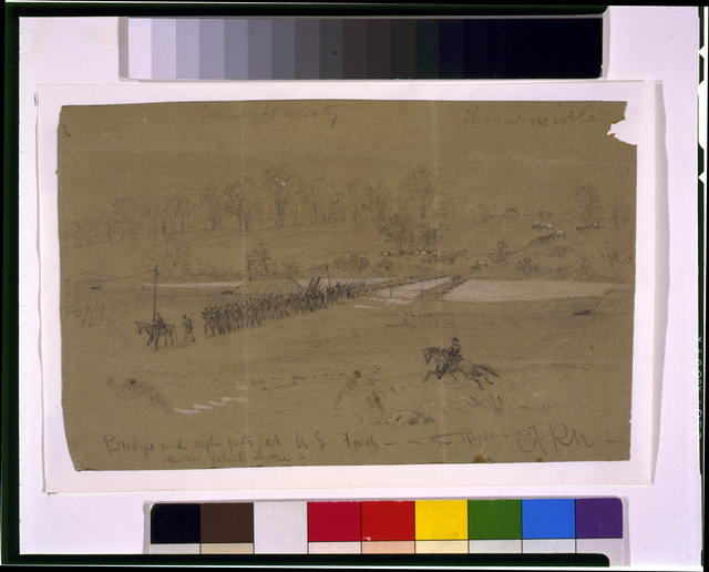 Bridges and rifle pits at U.S. Ford--in the Rappahannock from rebel shore