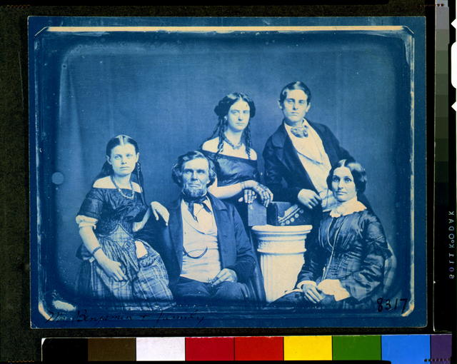 [Mr. Zina Hitchcock Benjamin family, posed left to right: Cornelia, Zina Hitchcock, Frances Antoinette, Samuel Clark, and Joanette Clark]