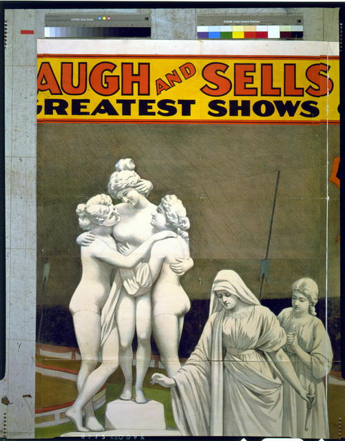 Adam Forepaugh and Sells Brothers America's greatest shows consolidated 8 lovely ladies as living statues illustrating famous art.