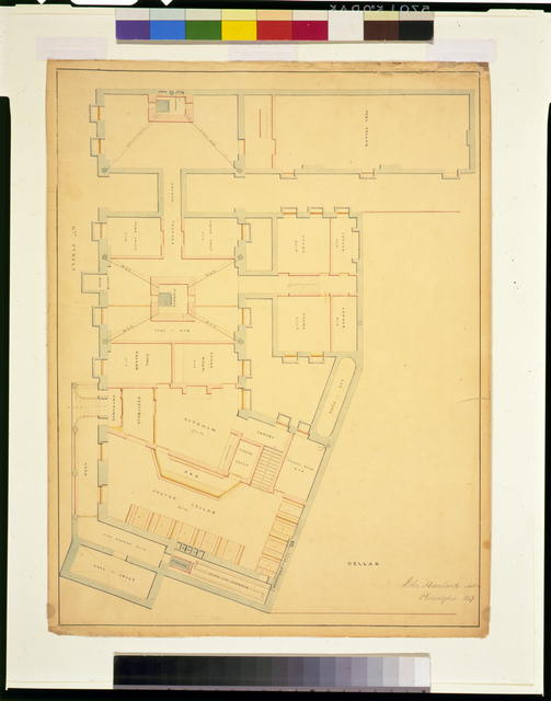 [Hotel for Azariah Fuller, (Kirkwood House), Pennsylvania Avenue and 12th Street, N.W., Washington, D.C. Cellar floor plan]