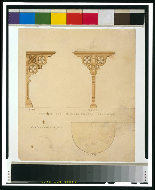 [St. Paul's Church (Baltimore, Maryland). Credence. Elevation and plan]