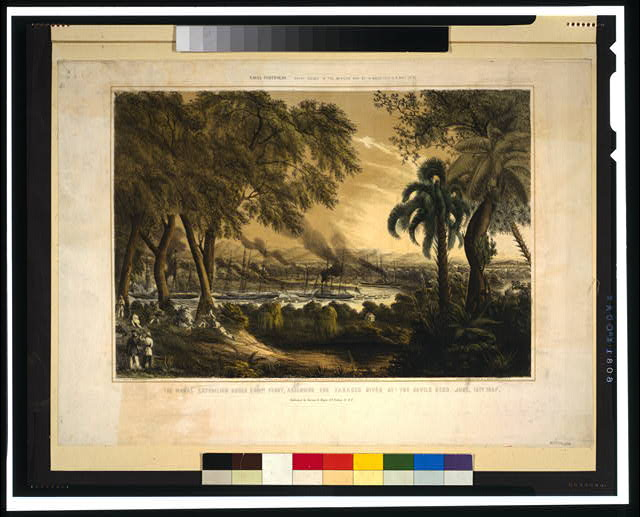 The naval expedition under Com..re Perry, assending [sic] the Tabasco River at the Devils Bend--June, 15th 1847