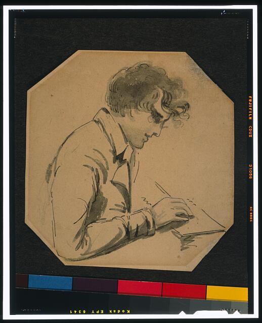 [Gilbert Stuart, self-portrait, half-length, right profile, holding pencil or brush, drawing]