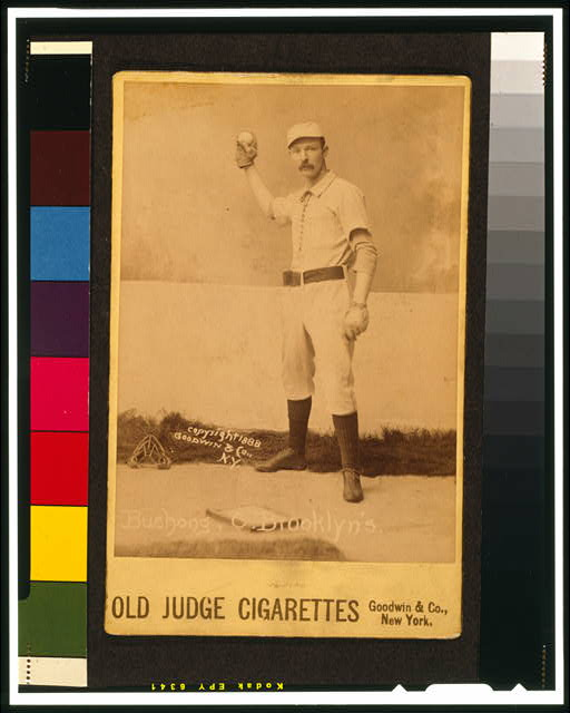 [Doc Bushong, Brooklyn Trolley-Dodgers, Brooklyn Bridegrooms, baseball card portrait]