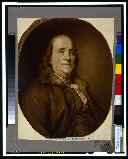 [Benjamin Franklin, head-and-shoulders portrait, facing slightly right, wearing fur collar]