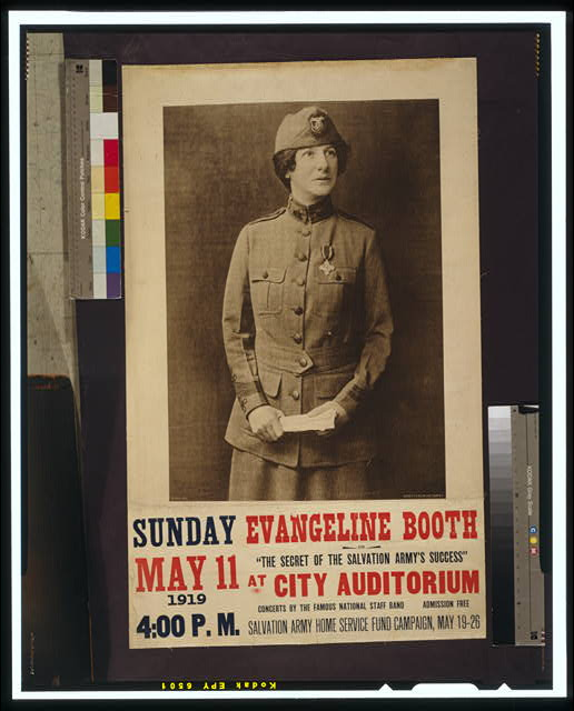 "Evangeline Booth on ""The secret of the Salvation Army's success"" at City Auditorium"