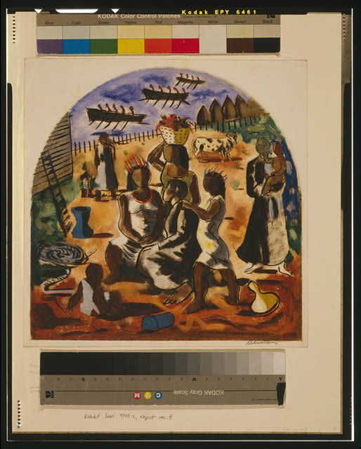 "[Preparatory drawing for ""The teaching of the Indians"" mural, Hispanic Division, Library of Congress]"