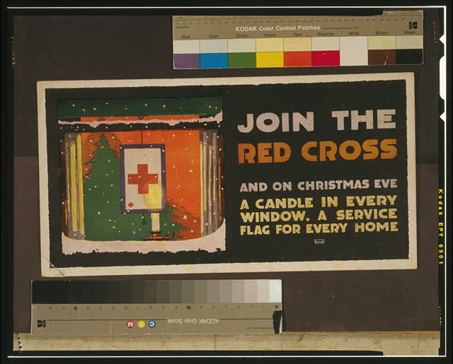 Join the Red Cross and on Christmas eve a candle in every window, a service flag for every home