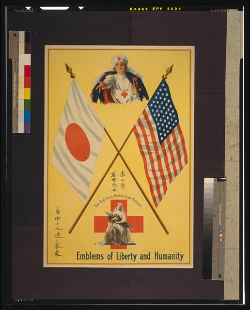 Emblems of liberty and humanity The Red Cross, mother of all nations.