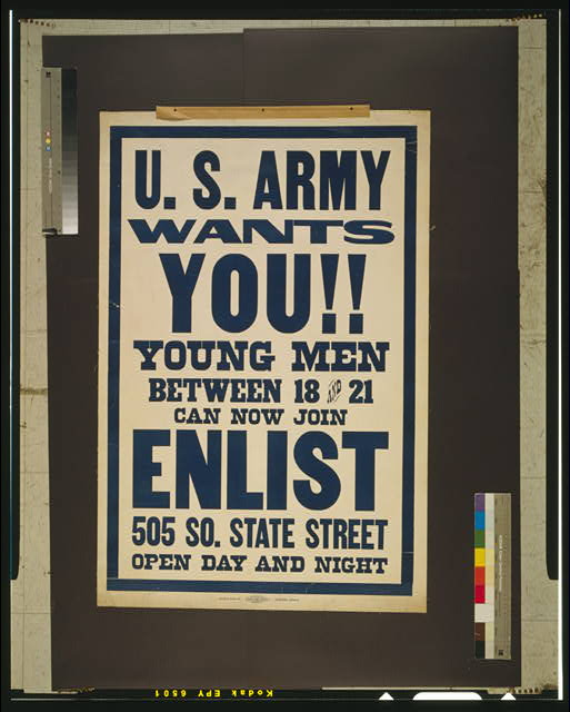 U.S. Army wants you!! Young men between 18 and 21 can now join.