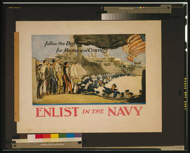 Enlist in the Navy follow the boys in blue for home and country /