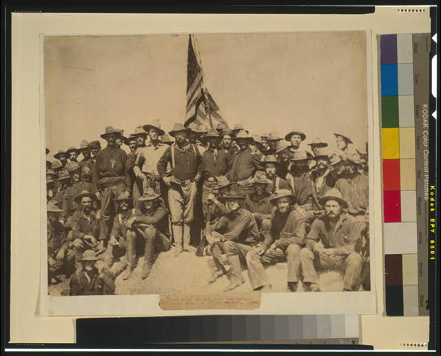 [Colonel Roosevelt and his Rough Riders at the top of the hill which they captured, Battle of San Juan]