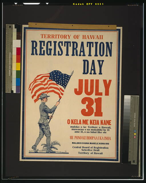 Territory of Hawaii registration day July 31