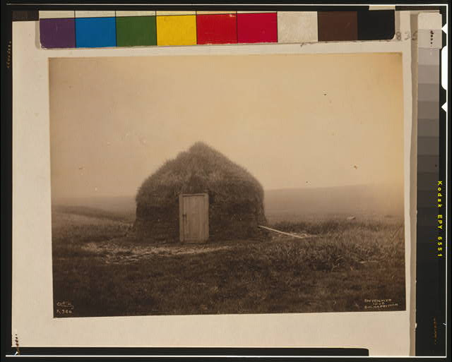 [Frontal view of earthen hut, Pribilof Islands, Alaska]