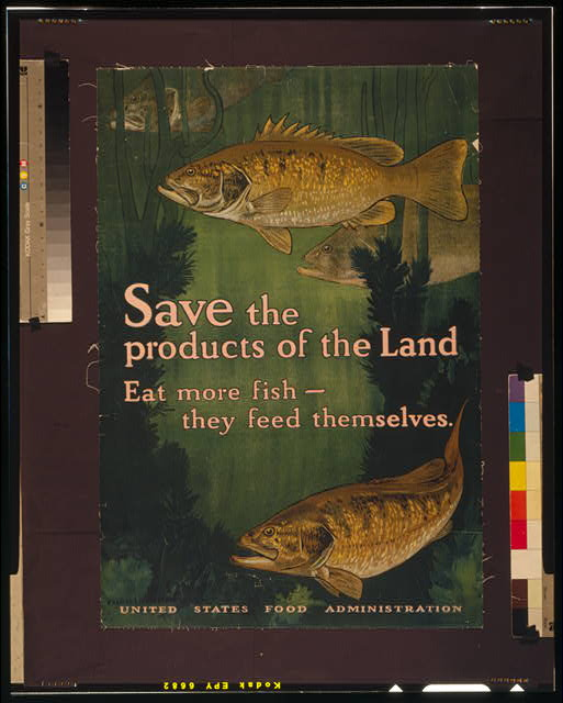 Save the products of the land--Eat more fish-they feed themselves United States Food Administration /