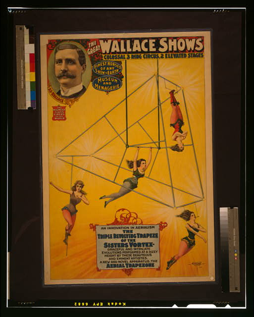 The great Wallace shows An innovation in aerialism, the triple revolving trapeze of the sisters Vortex [...] /