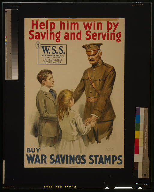 Help him win by saving and serving--Buy War Savings Stamps