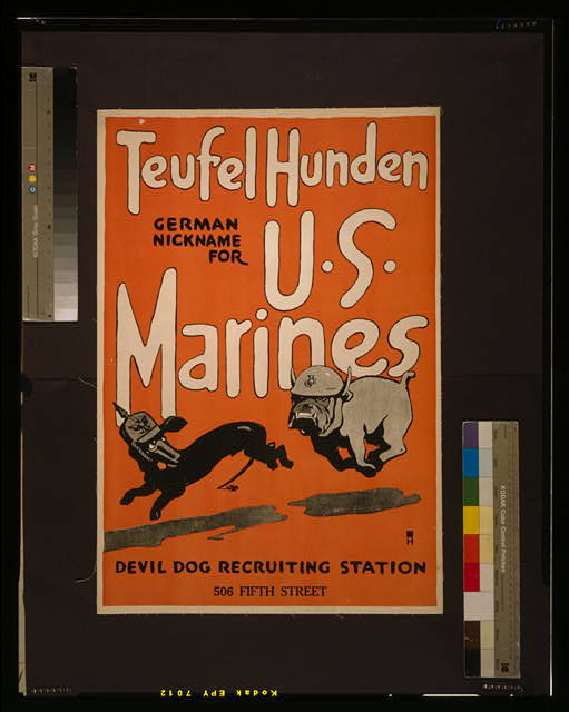 Teufel hunden, German nickname for U.S. Marines Devil dog recruiting station, 506 Fifth Street /