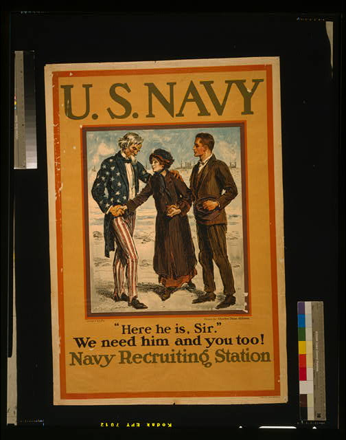 "U.S. Navy--""Here he is, sir""--We need him and you too! Navy Recruiting Station"