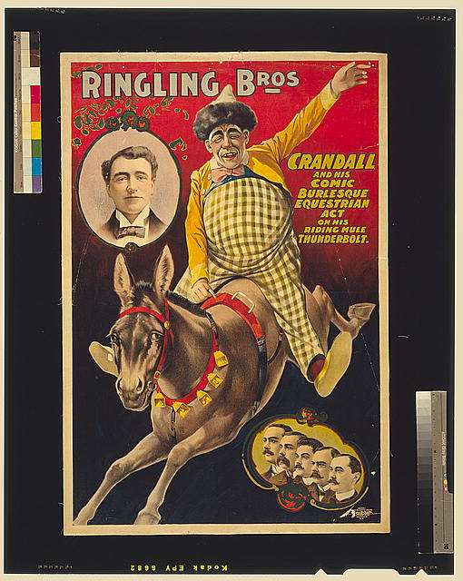 Ringling Bros.--Crandall and his comic burlesque equestrian act on his riding mule Thunderbolt /