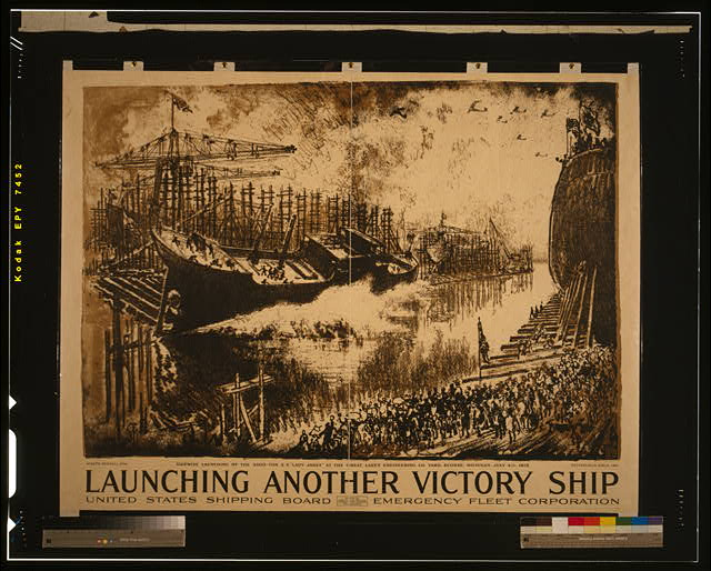 Launching another victory ship United States Shipping Board, Emergency Fleet Corporation /