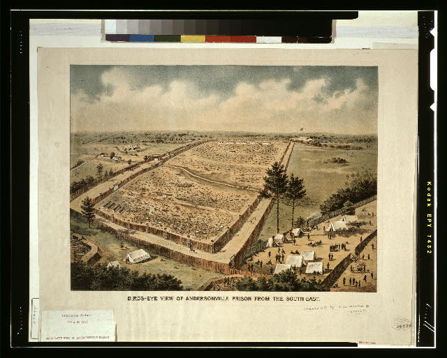 Bird&#39;s-eye view of Andersonville Prison from the south-east