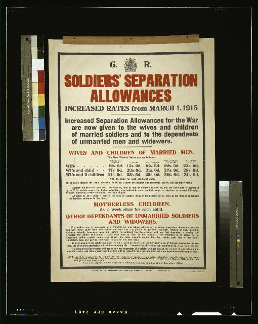 Soldiers' separation allowances. Increased rates from March 1, 1915 [...]