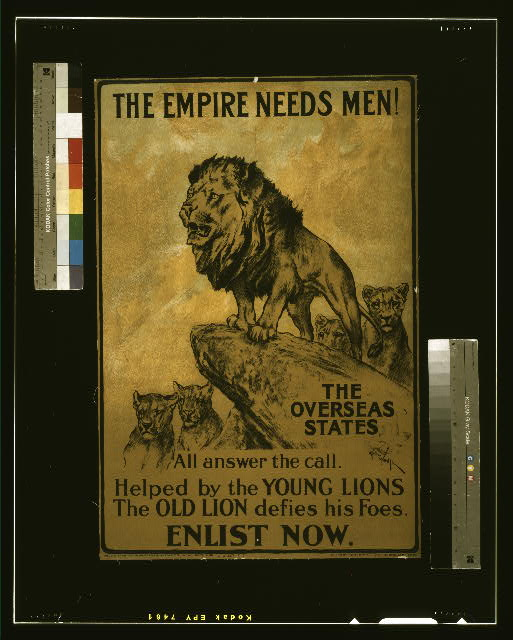 The empire needs men! The overseas states all answer the call. Helped by the young lions the old lion defies his foes. Enlist now