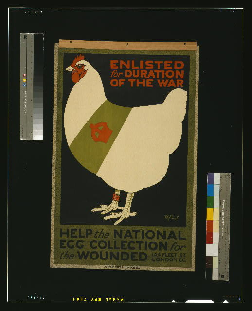 Enlisted for duration of the war. Help the national egg collection for the wounded